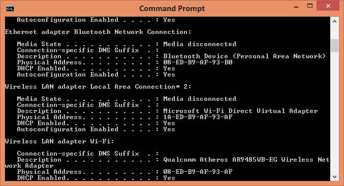 change physical address in network adapter