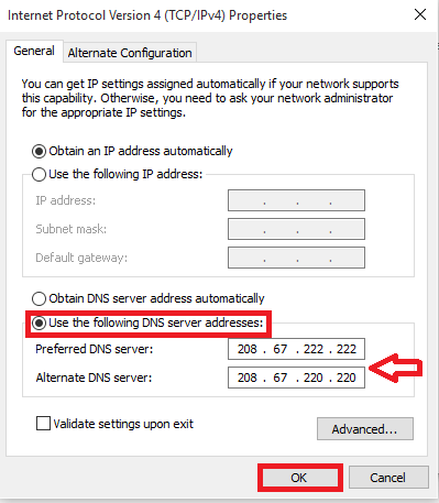 changing dns server