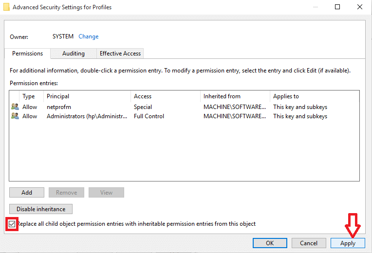 checking the option at bottom