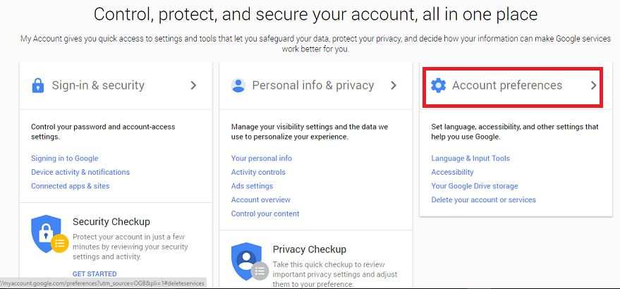 choosin third tab of account preferences