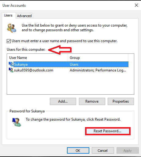 choosing option reset password