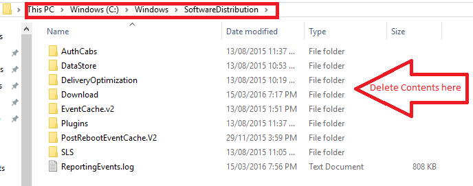 delete contents in Software distribution