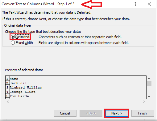 delimited option in wizard