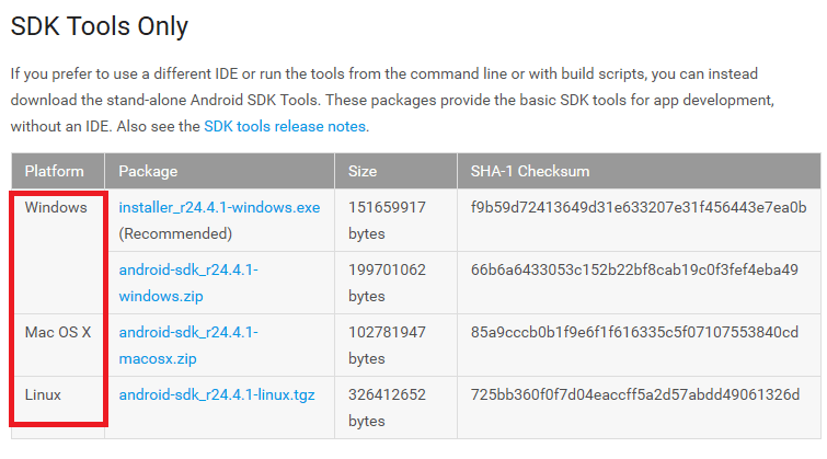 download sdk based on platform
