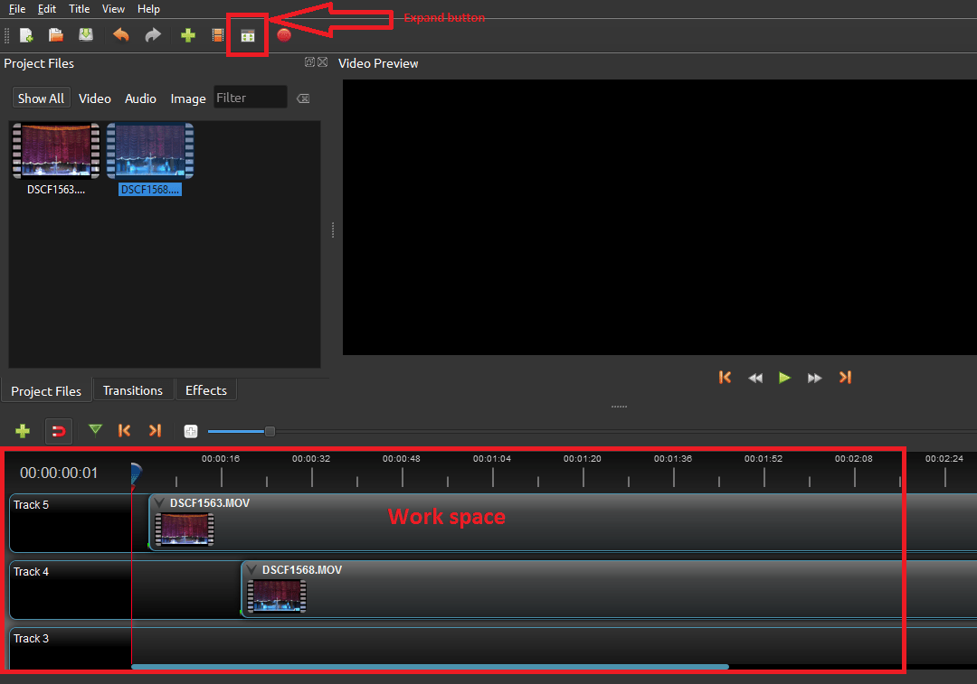 Expand button and workspace