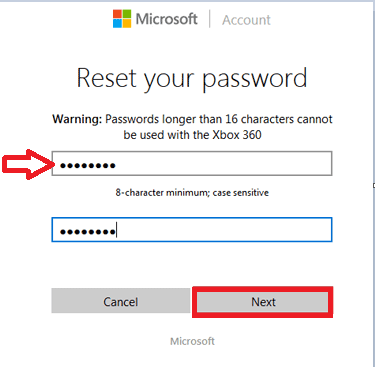 entering new password