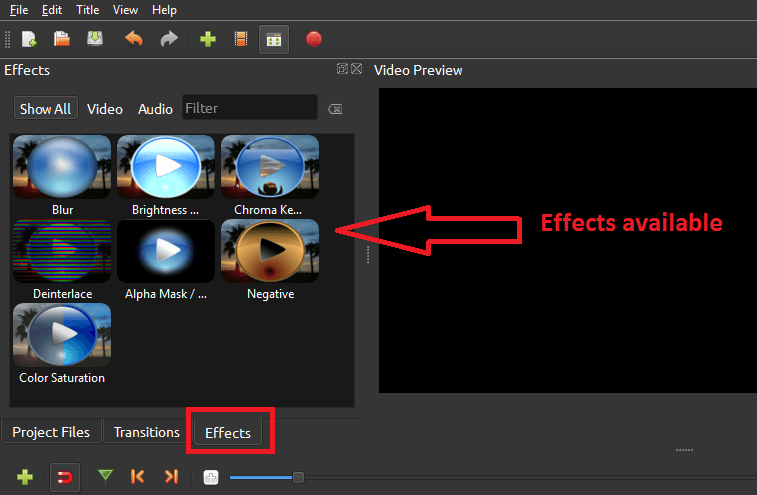 Give effects to the video