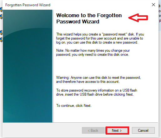 forgotten password wizard