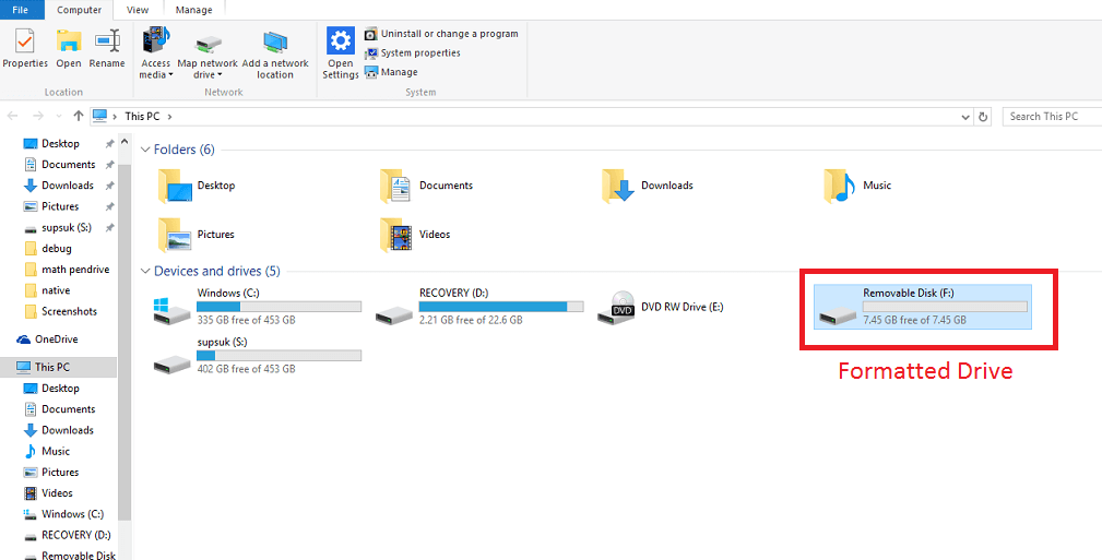 formating pendrive step 6