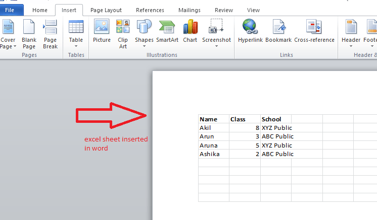 insert excel to word