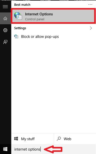 opening internet options