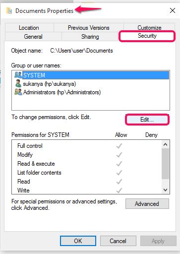 properties of folder