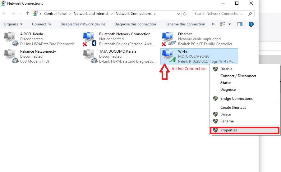 right click on acrive connection