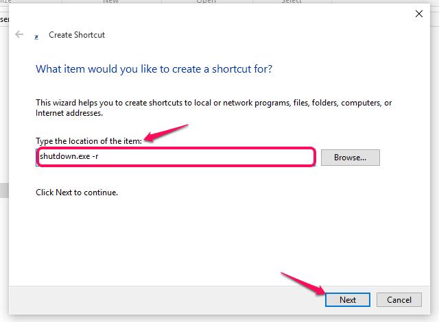 shortcut for restart