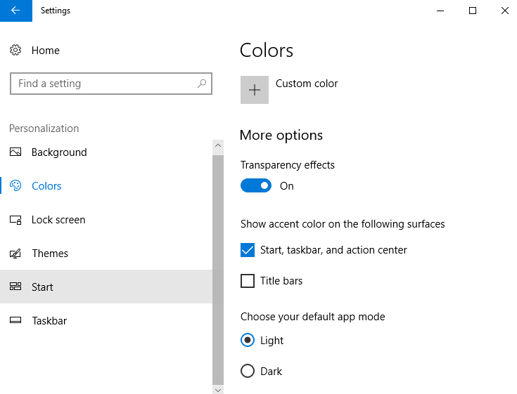Show Accent Color Taskbar Windows 10