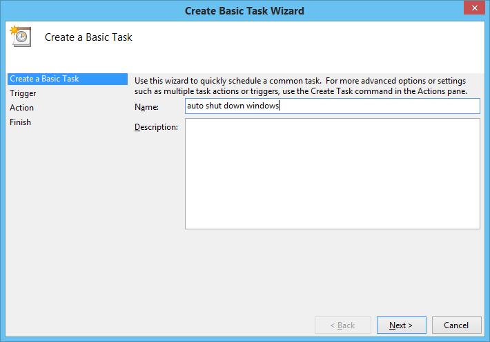 shut down using task scheduler