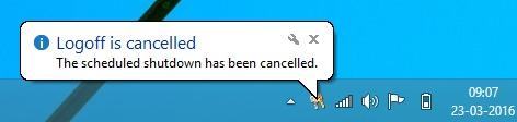 shutdown cancelled