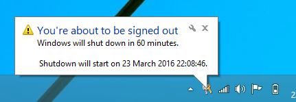 shutdown sheduled notification