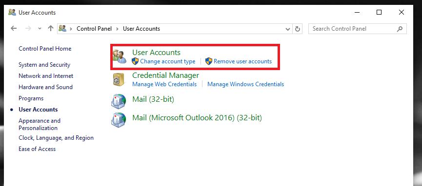 user account settings
