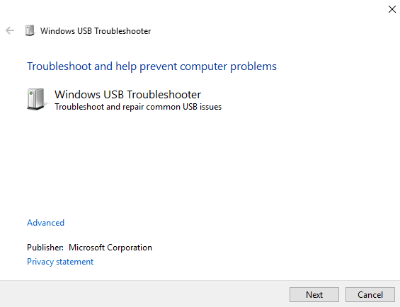 Windows10 Usb Troubleshooter