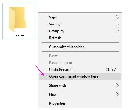 cmd in windows 10 folder