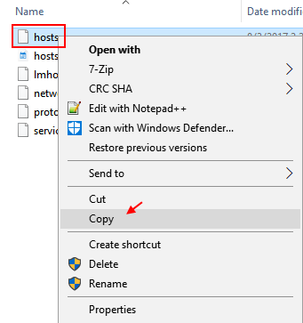 Copy Hosts File Windows 10