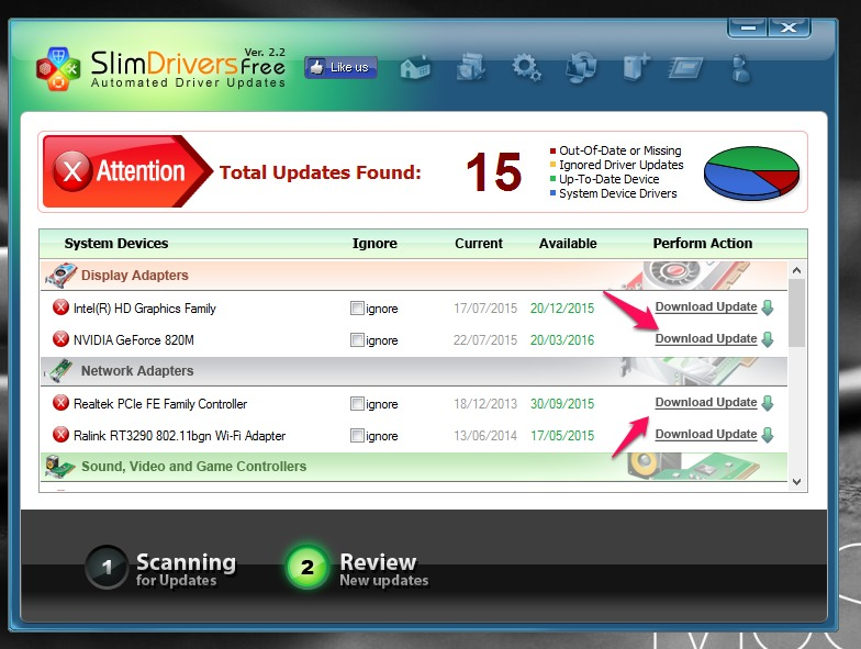 download update slimdrivers