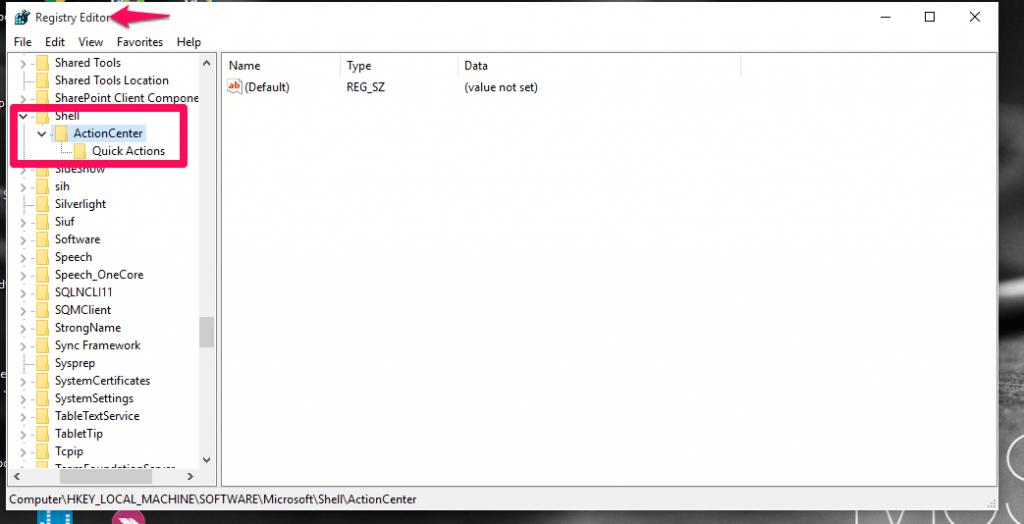 navigating in registry editor