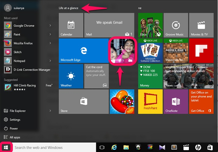phtots app from Start menu