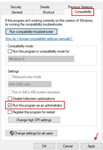 Run Admin Compatibility Min