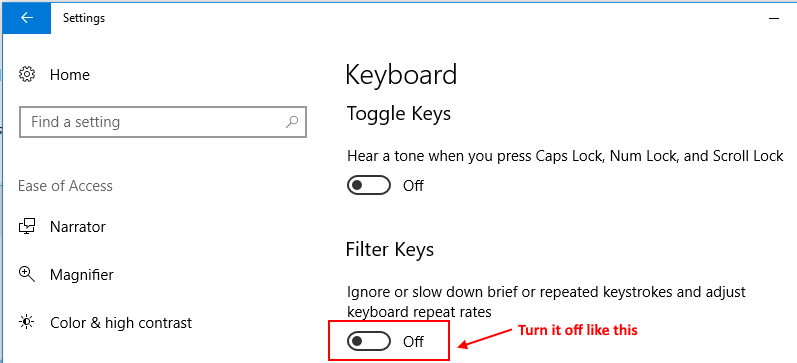 Filter Key Windows 10
