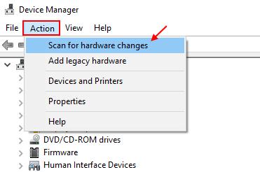 Scan Hardware Changes Windows 10