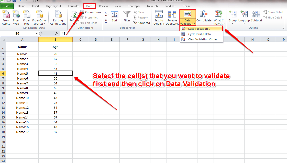 how to set a minimum and maximum value in excel column