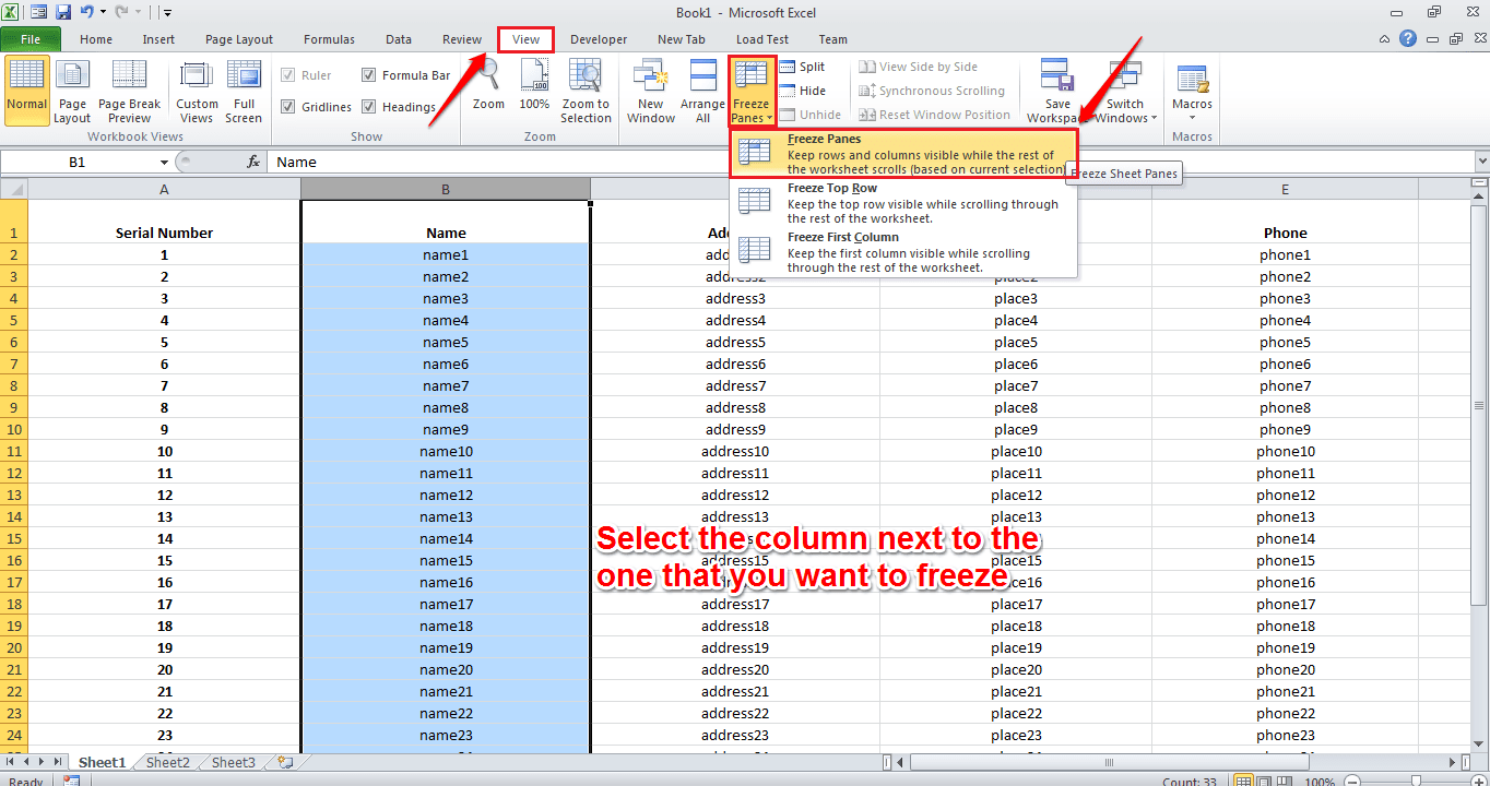 how to get heading in excel to stay visable