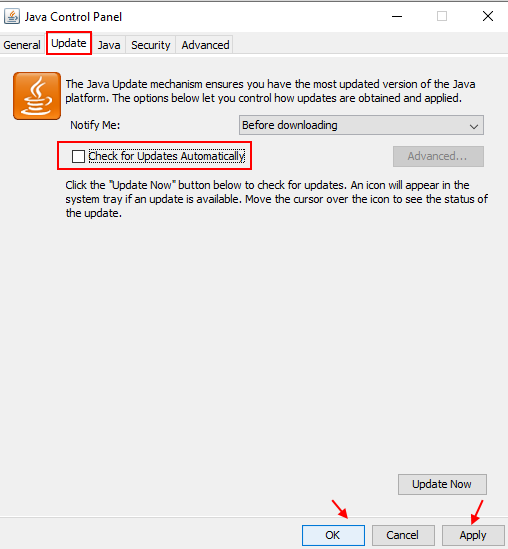 Disable Update Java