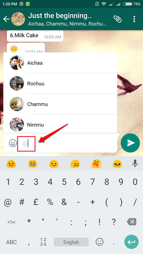 Now Mention Friends' Names In Whatsapp Groups Using