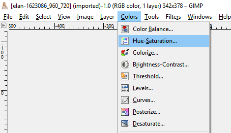 Choose Hue Saturation