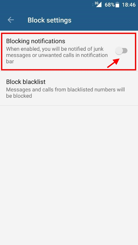 Disable Blocked Call Notifications