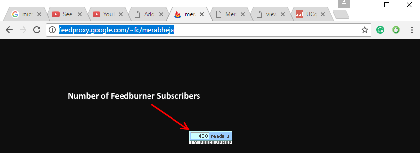 Number Feedburner Subscribers Count Min