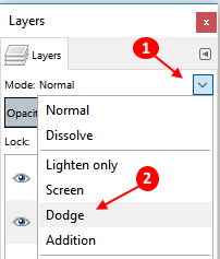 Select Second Layer Mode Dodge