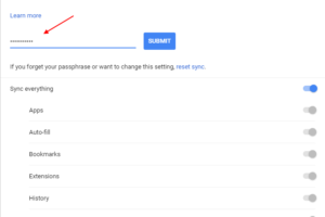 Advanced Chrome Sync Settings