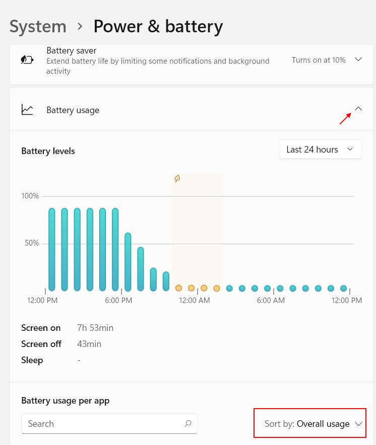 Battery Usage 1 Min