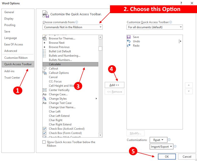 Calculator Ms Word Option Min