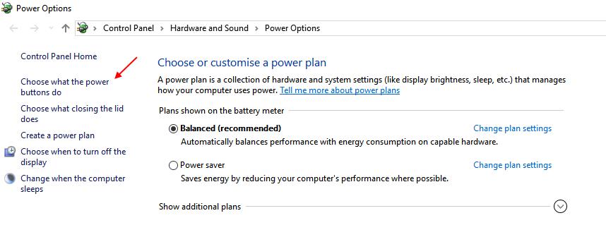Choose Power Buttons Do Windows 10