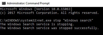 Cmd Stop Windows Search