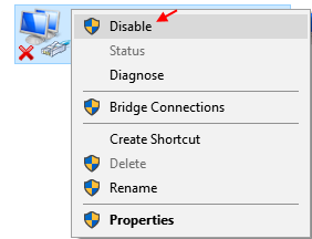 Disable Enable Network Windows 10