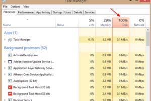 Disk Usage 100 Percent Task Manager