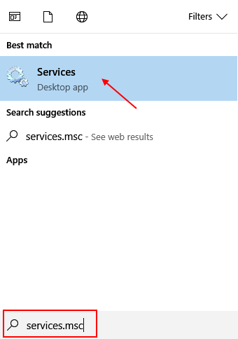 Services Console Windows 10