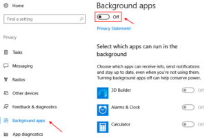 Turn Off Background Apps Windows 10