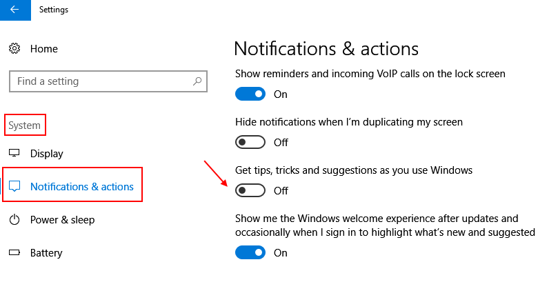 Turn Off Windows Tips Suggestions